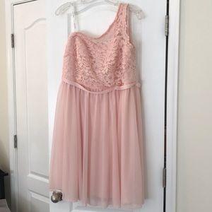 David's Bridal Short one shoulder lace dress